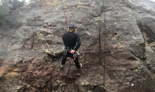 Abseiling instructor in the Blue Mountains